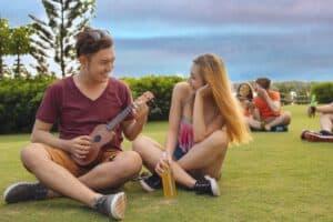 Enjoying Ukulele lessons from Paradise Activity Company in Kauai